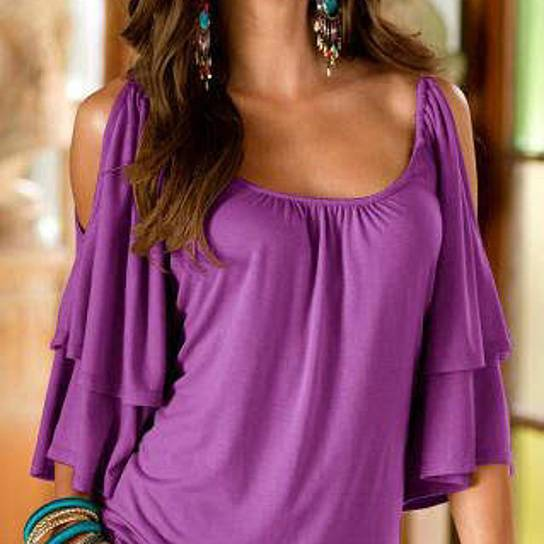 Cold Shoulder Ruffle Top - Assorted Sizes Women's Apparel M Purple - DailySale