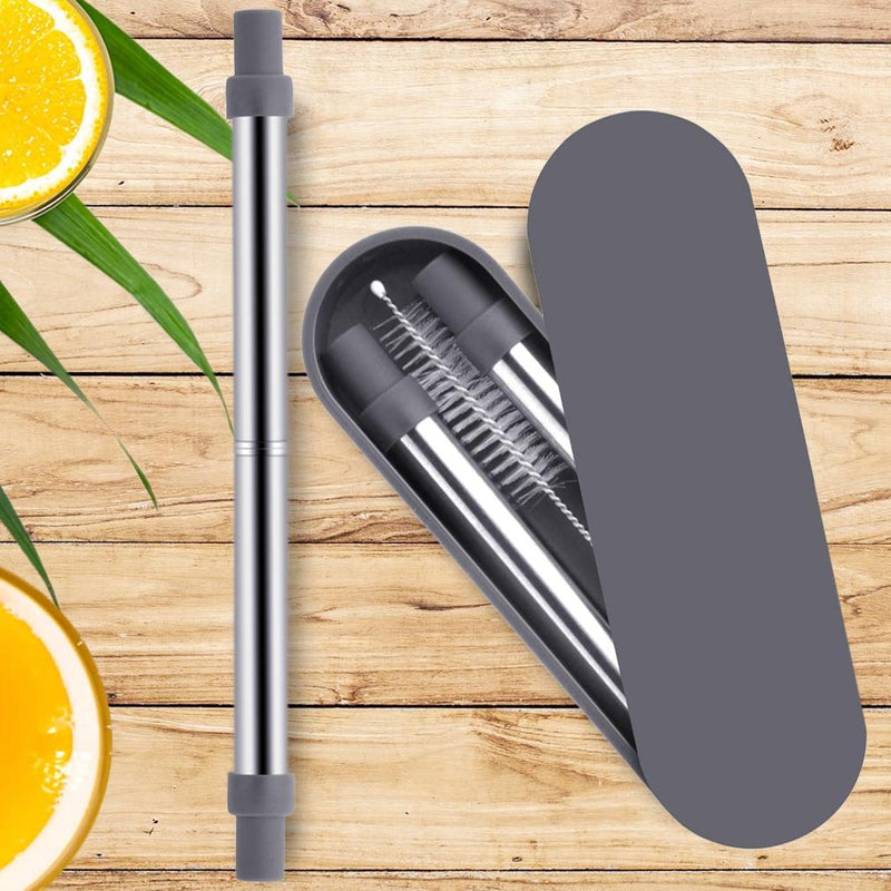 Collapsable Telescopic Reusable Drinkable Straw Kitchen Essentials - DailySale