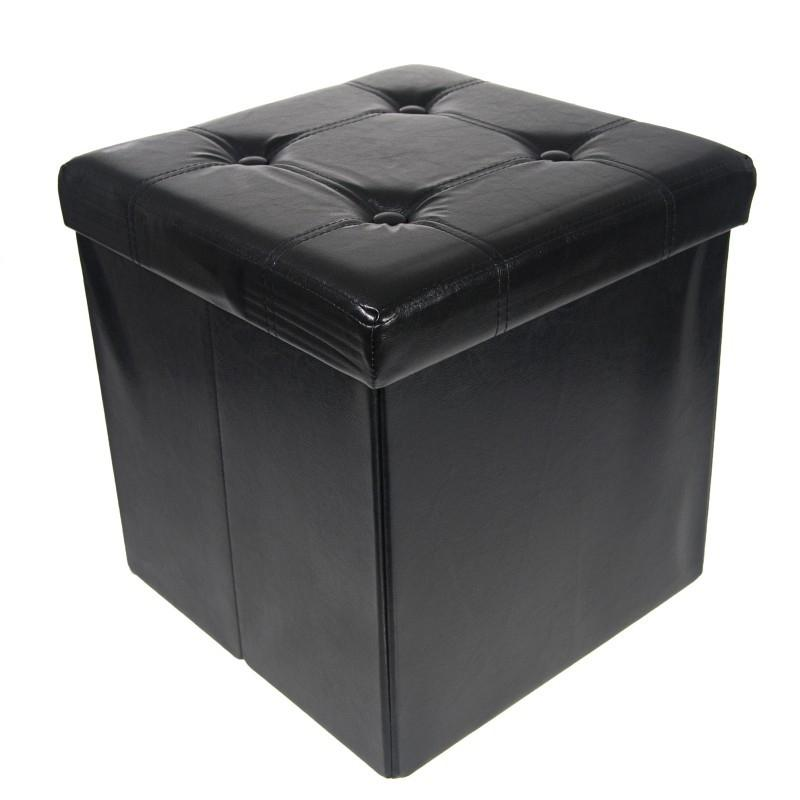 Collapsible Storage Ottoman & Foot Rest Furniture & Decor Black - DailySale