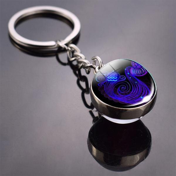 Constellation Double Side Cabochon Glass Ball Keychain Everything Else Aquarius - DailySale