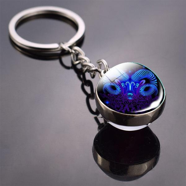 Constellation Double Side Cabochon Glass Ball Keychain Everything Else Aries - DailySale