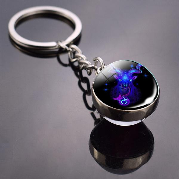 Constellation Double Side Cabochon Glass Ball Keychain Everything Else Capricorn - DailySale