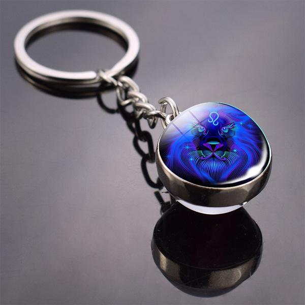 Constellation Double Side Cabochon Glass Ball Keychain Everything Else Leo - DailySale