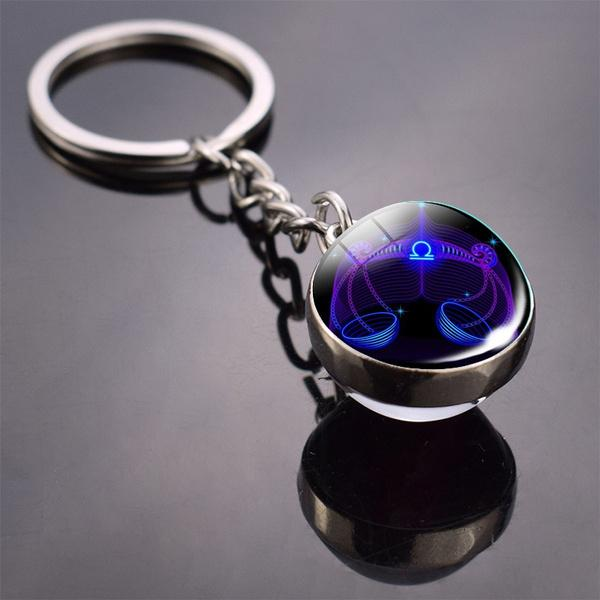 Constellation Double Side Cabochon Glass Ball Keychain Everything Else Libra - DailySale
