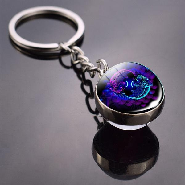 Constellation Double Side Cabochon Glass Ball Keychain Everything Else Pisces - DailySale