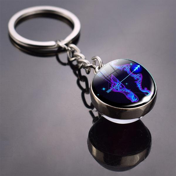 Constellation Double Side Cabochon Glass Ball Keychain Everything Else Sagittarius - DailySale