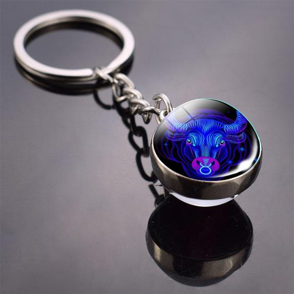 Constellation Double Side Cabochon Glass Ball Keychain Everything Else Taurus - DailySale