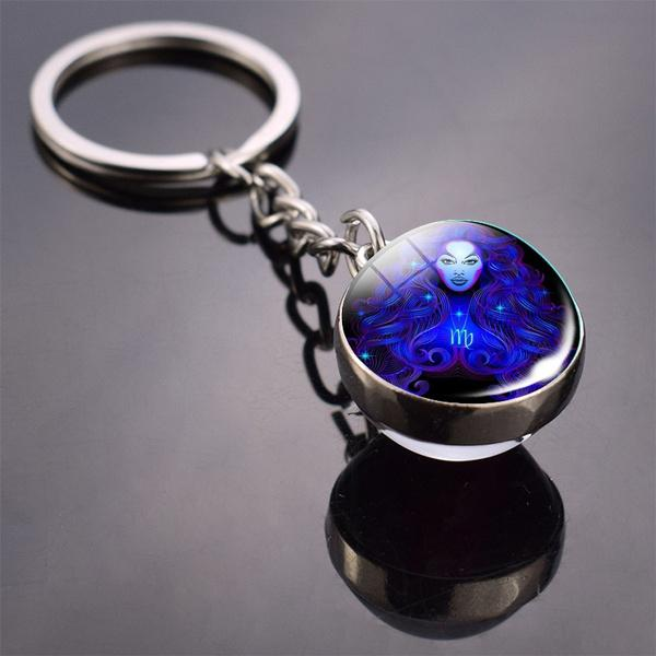 Constellation Double Side Cabochon Glass Ball Keychain Everything Else Virgo - DailySale