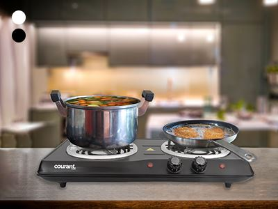 Courant 1700 Watts Electric Double Burner Kitchen Essentials - DailySale