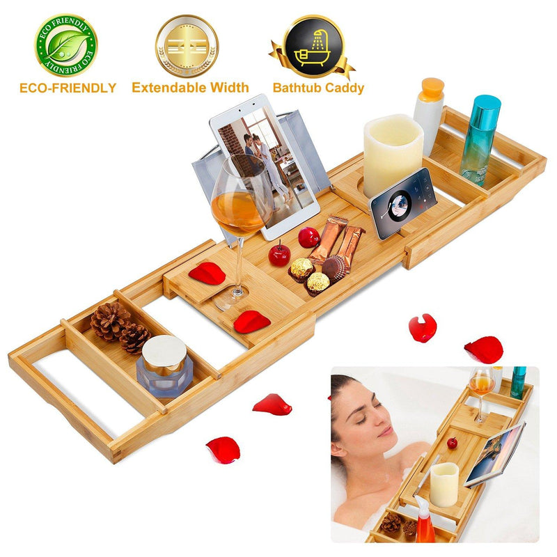 Crafted Bamboo Bath Tray Table Extendable Reading Rack