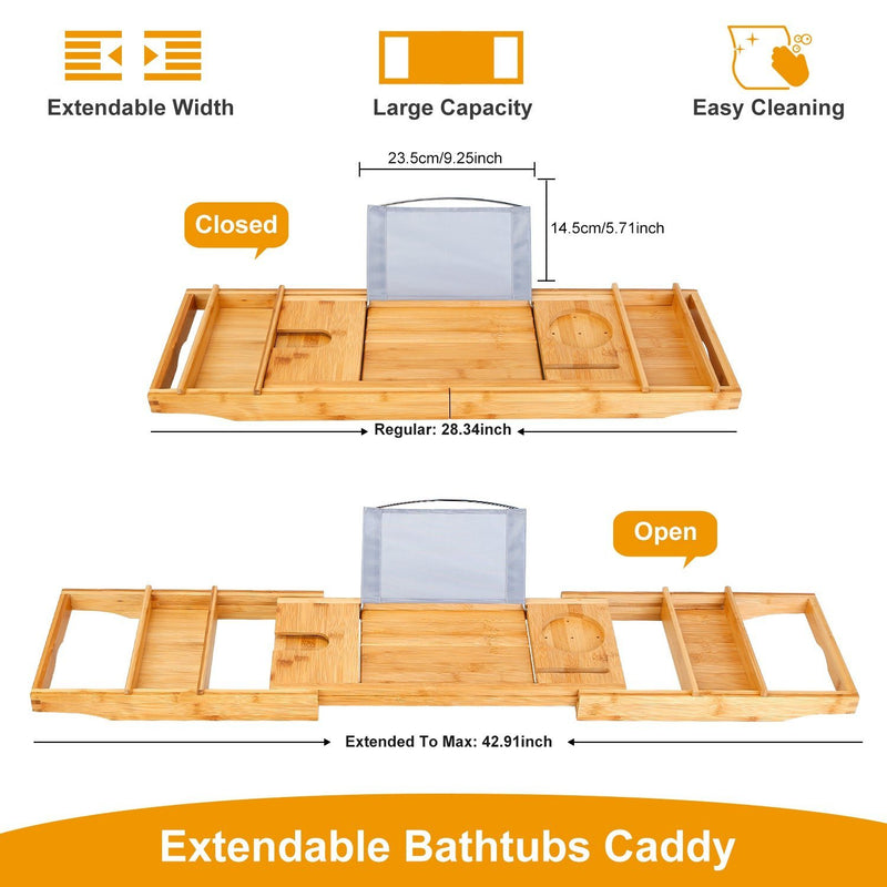 Crafted Bamboo Bath Tray Table Extendable Reading Rack Bath - DailySale