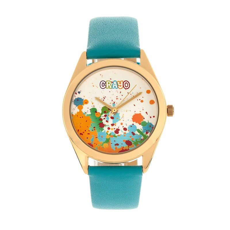 Crayo Graffiti Multicolor Dial Powder Leather Watch