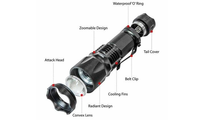 CREE XML T6 2000 Lumen Zoomable 3 Mode Focus LED Waterproof Flashlight Sports & Outdoors - DailySale