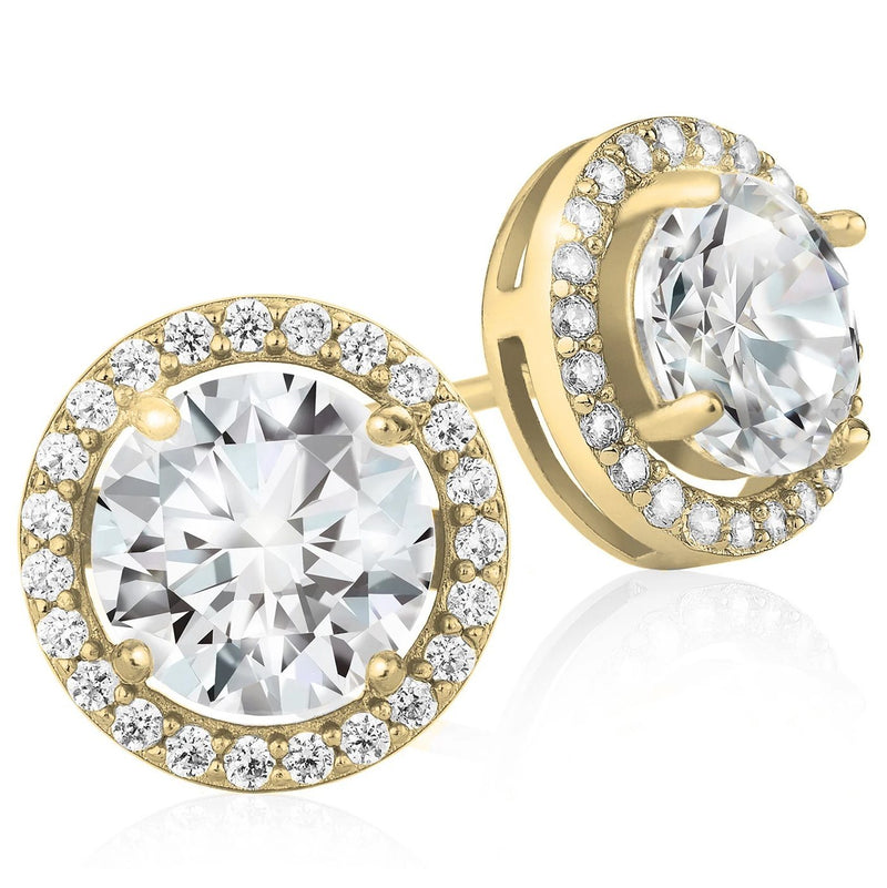 Crystal Round Halo Stud Earrings Earrings Gold - DailySale