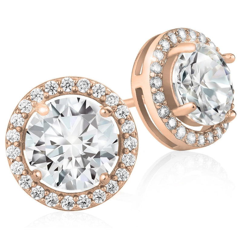 Crystal Round Halo Stud Earrings Earrings Rose Gold - DailySale