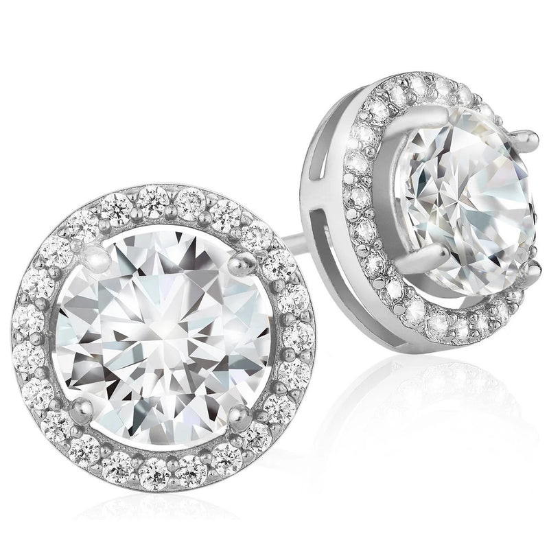 Crystal Round Halo Stud Earrings Earrings Silver - DailySale