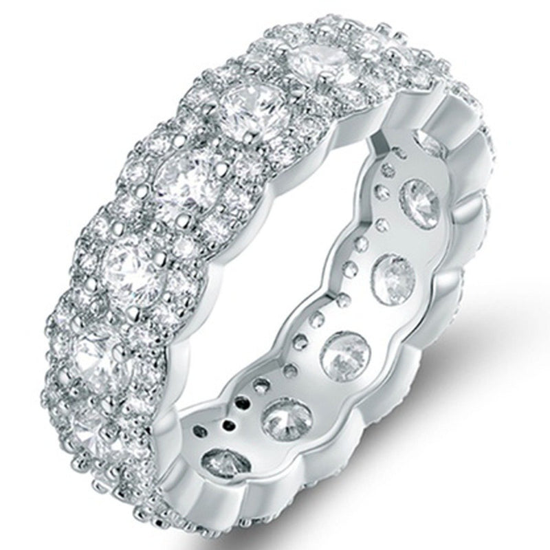 Cubic Zirconia Floral Eternity Band Ring - Assorted Sizes and Colors Jewelry 5 Silver - DailySale