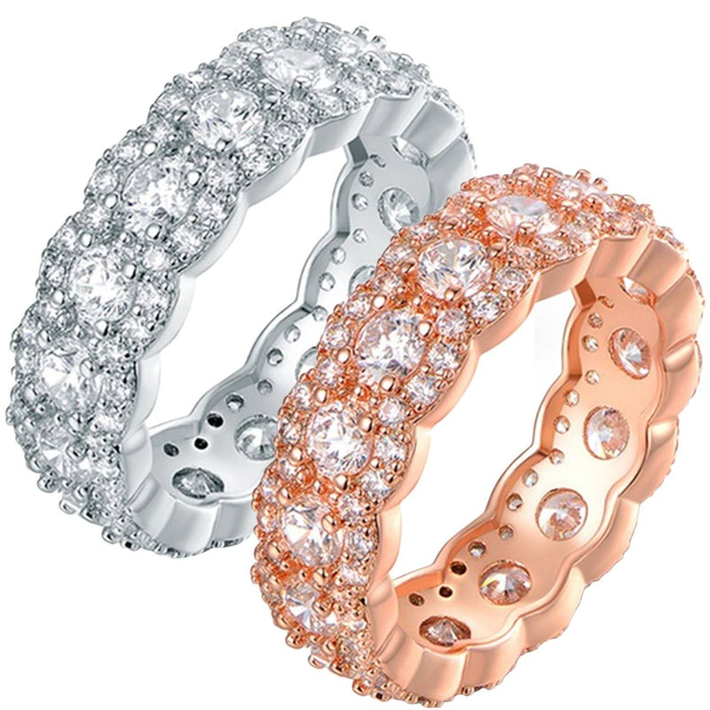 Cubic Zirconia Floral Eternity Band Ring - Assorted Sizes and Colors Jewelry - DailySale