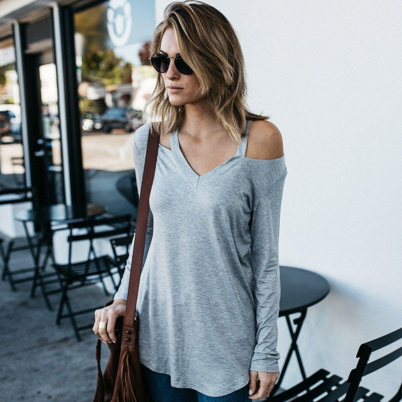 Cut Loose Long Sleeve Shirt Women's Apparel S Light Gray - DailySale
