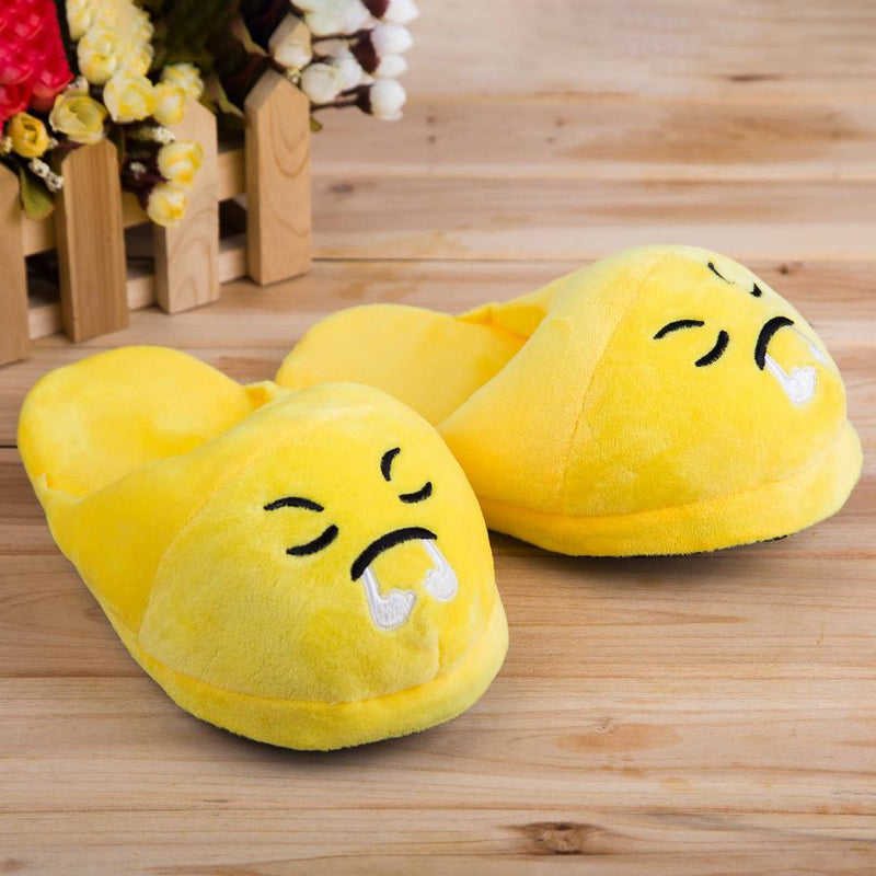 Cute And Fun Plush Emoji Slippers Women's Clothing Angry - DailySale