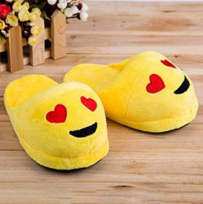 Cute And Fun Plush Emoji Slippers Women's Clothing Heart Eyes - DailySale