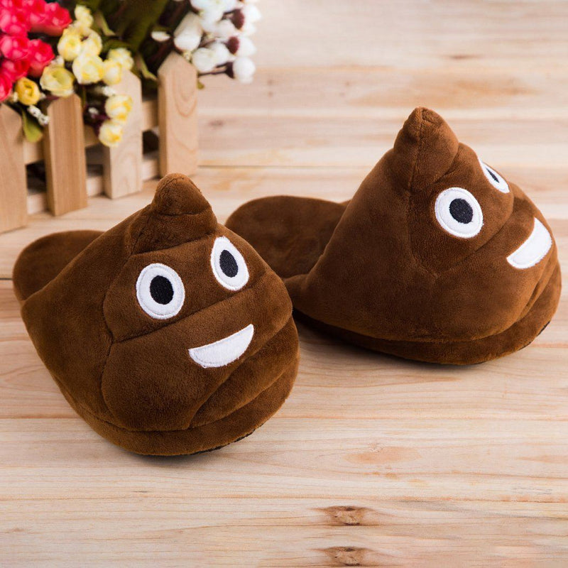 Cute And Fun Plush Emoji Slippers Women's Clothing Poop - DailySale