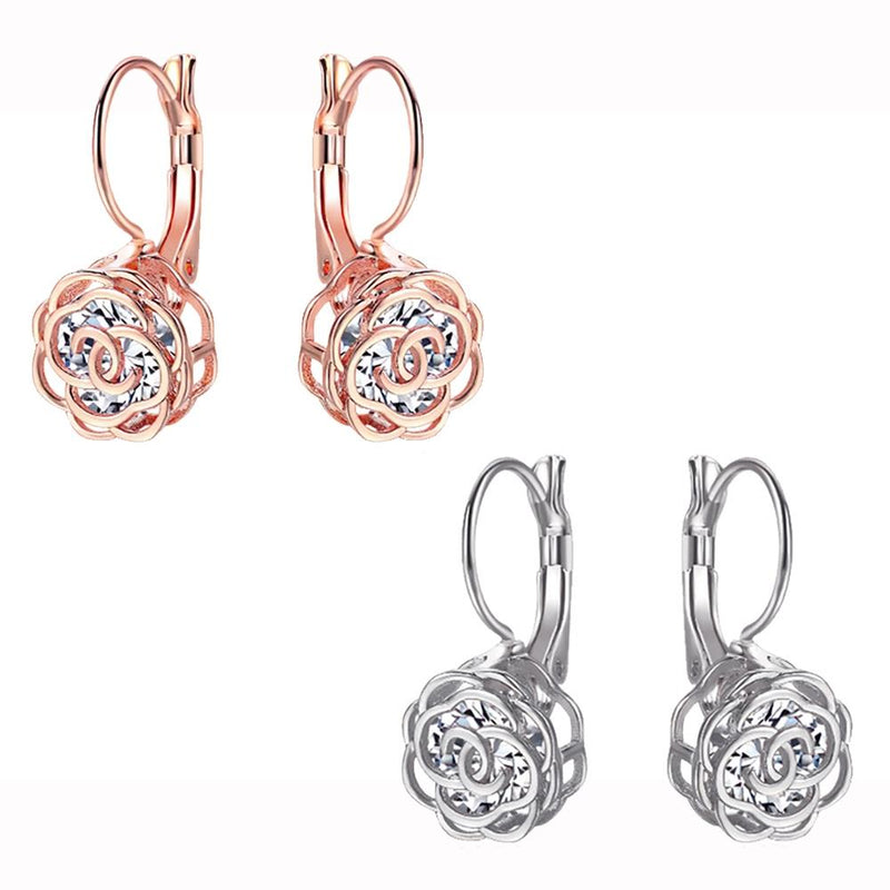 Cystal Leverback Floral Earrings In Gold Jewelry - DailySale
