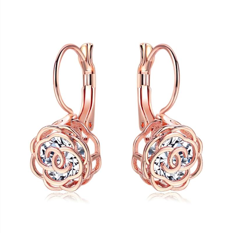 Cystal Leverback Floral Earrings In Gold Jewelry Rose Gold - DailySale