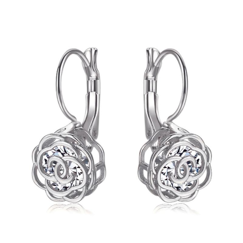 Cystal Leverback Floral Earrings In Gold Jewelry White Gold - DailySale