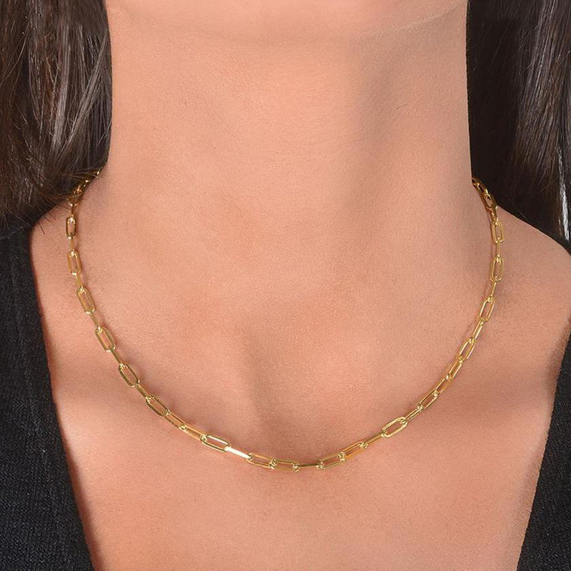 Dainty Paperclip Layering Chains in Sterling Silver Jewelry 16 Gold - DailySale