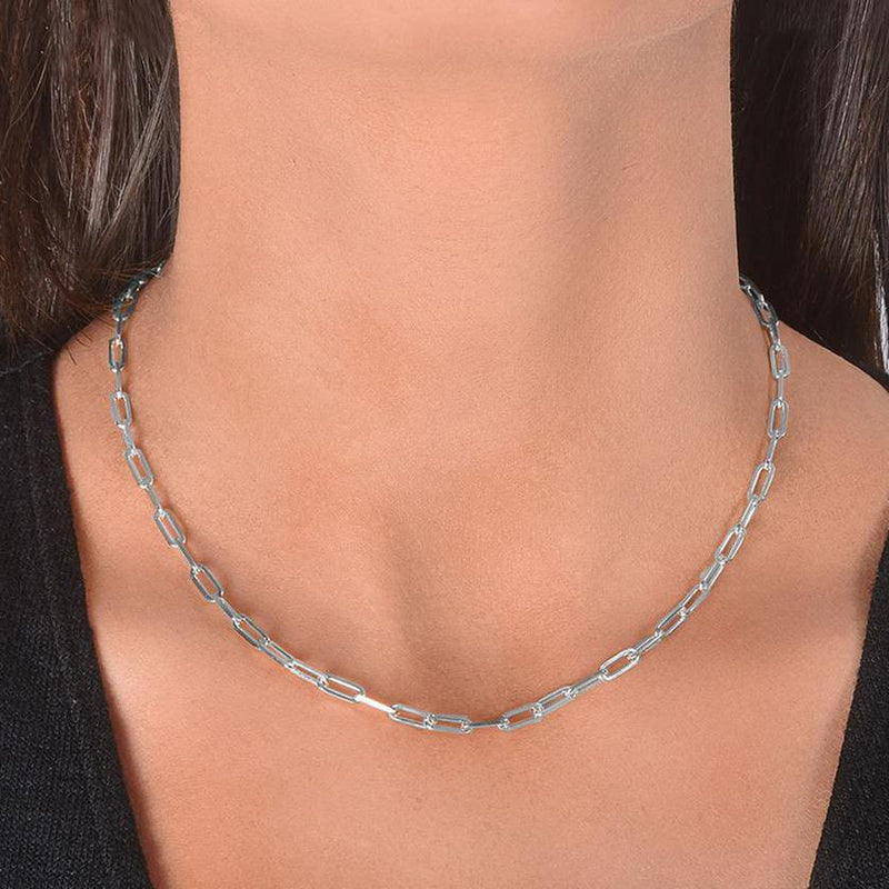 Dainty Paperclip Layering Chains in Sterling Silver Jewelry 16 Silver - DailySale