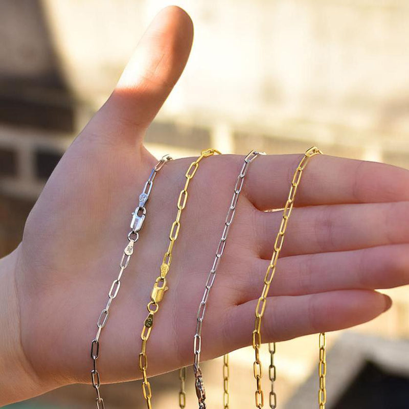 Dainty Paperclip Layering Chains in Sterling Silver Jewelry - DailySale