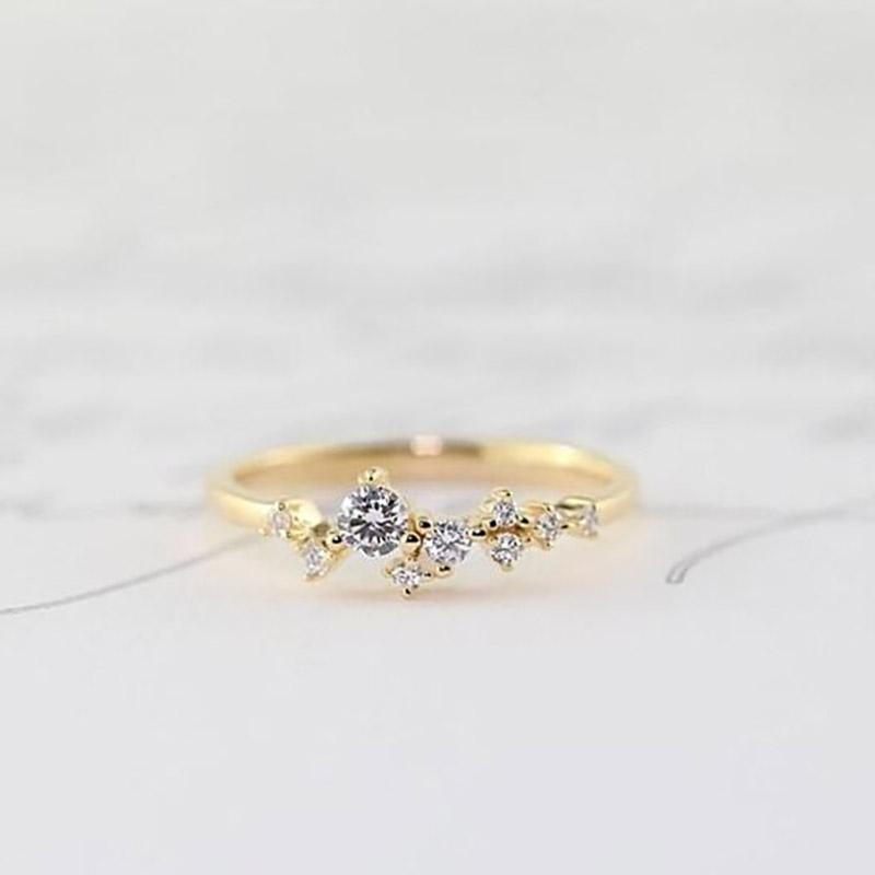 Delicate Cz Stackings Ring In 18Kt Gold Jewelry 6 Gold - DailySale