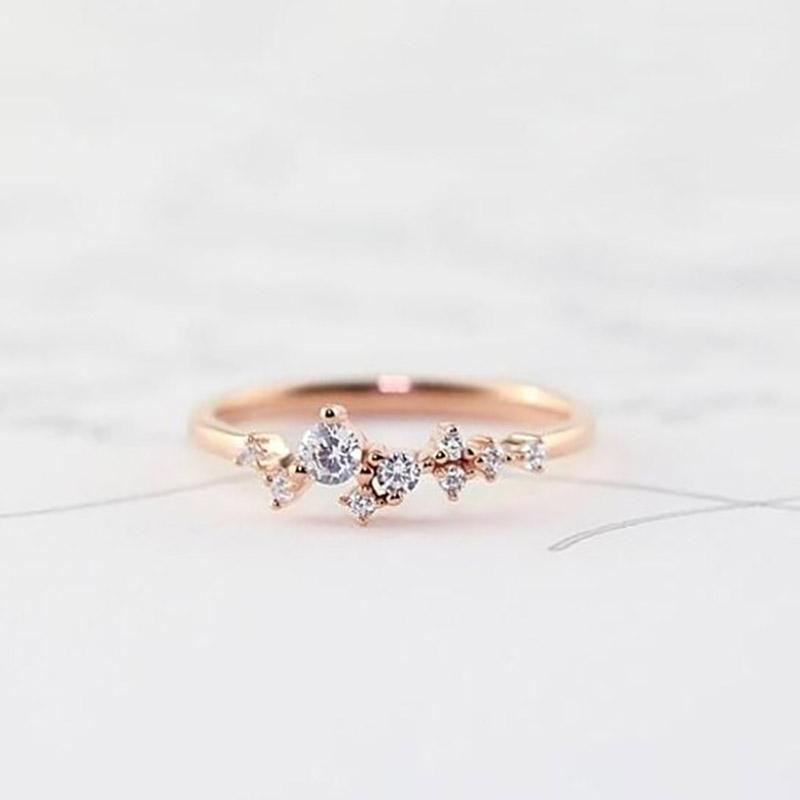 Delicate Cz Stackings Ring In 18Kt Gold Jewelry 6 Rose Gold - DailySale