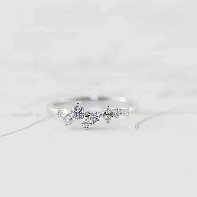 Delicate Cz Stackings Ring In 18Kt Gold Jewelry 6 White Gold - DailySale