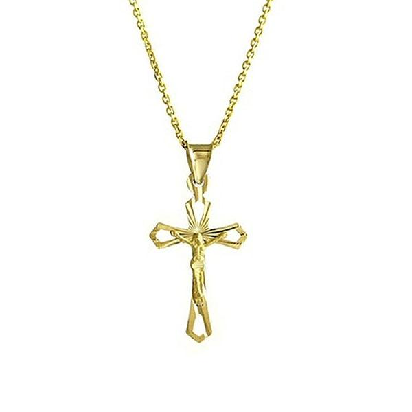 Diamond Cut Cross Necklace in Solid 10K Yellow Gold Jewelry - DailySale