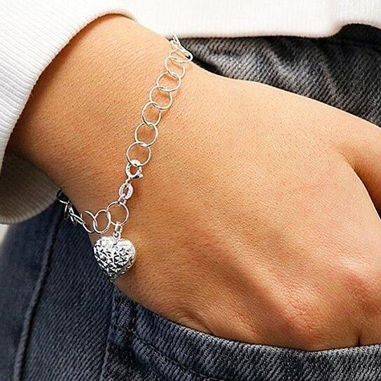 Diamond Cut Heart Charm Bracelet Jewelry - DailySale