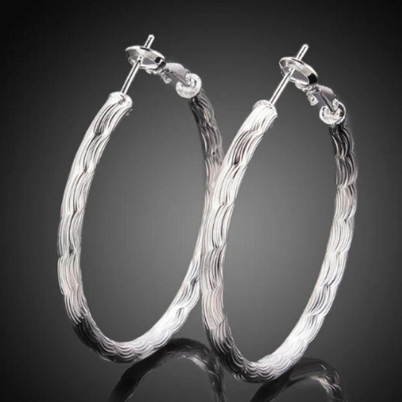 Diamond Cut Hoop Earrings In White Gold Jewelry - DailySale