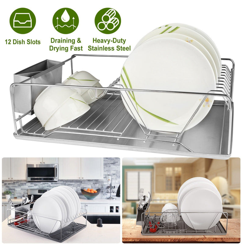 Dish Drying Rack Stainless Steel Kitchen & Dining - DailySale