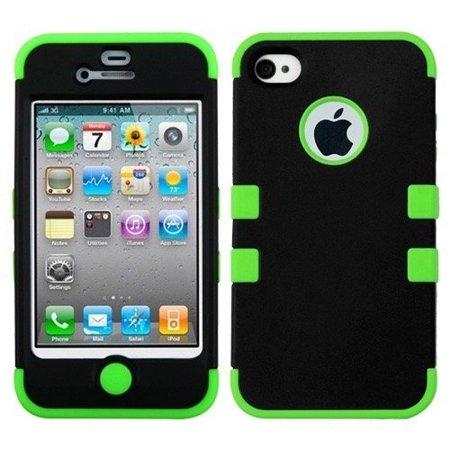 Double Layer Shockproof Hybrid Case for iPhone 4 & 4s Phones & Accessories Black/Green - DailySale