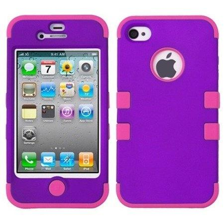 Double Layer Shockproof Hybrid Case for iPhone 4 & 4s Phones & Accessories Purple/Pink - DailySale
