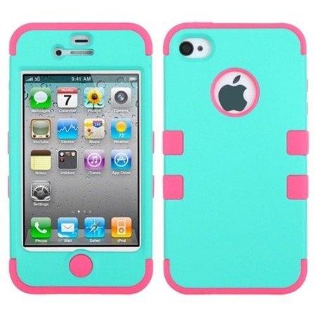 Double Layer Shockproof Hybrid Case for iPhone 4 & 4s Phones & Accessories Turquoise/Pink - DailySale