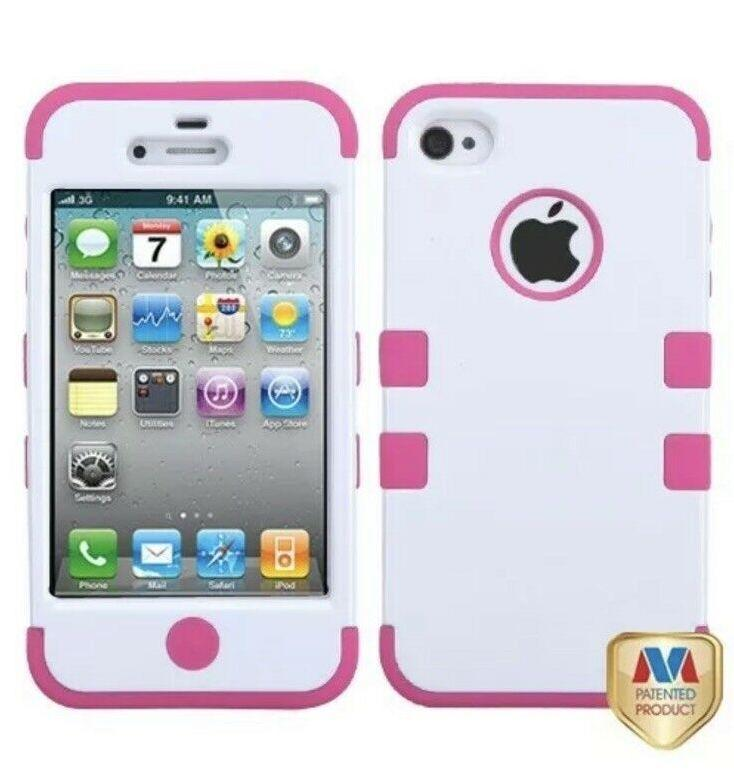 Double Layer Shockproof Hybrid Case for iPhone 4 & 4s Phones & Accessories White/Pink - DailySale