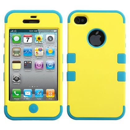 Double Layer Shockproof Hybrid Case for iPhone 4 & 4s Phones & Accessories Yellow/Turquoise - DailySale