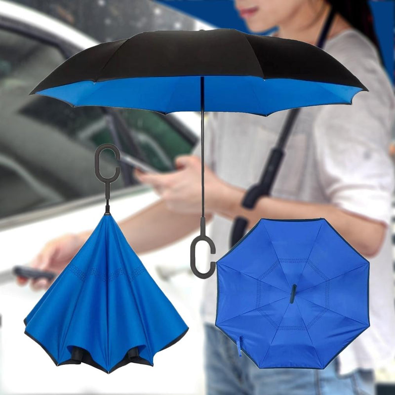 Double-Layer Windproof Reverse-Folding Smart Umbrella with UV Protection Sports & Outdoors - DailySale