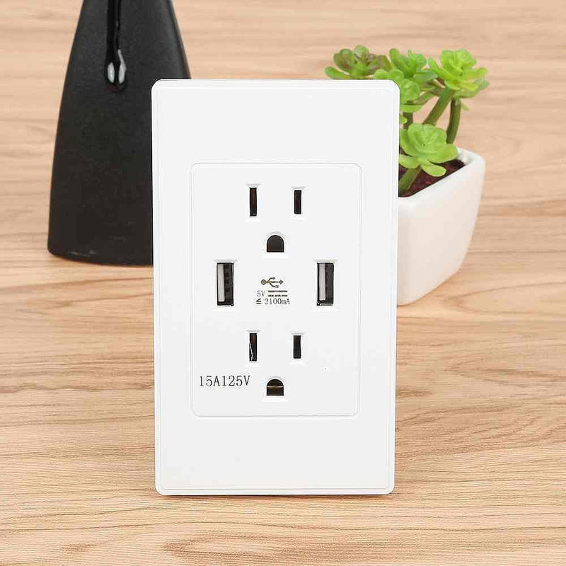 Dual Plug Electric Wall Socket Adapter 2 Usb Port Outlet Panel Switch Phones & Accessories - DailySale