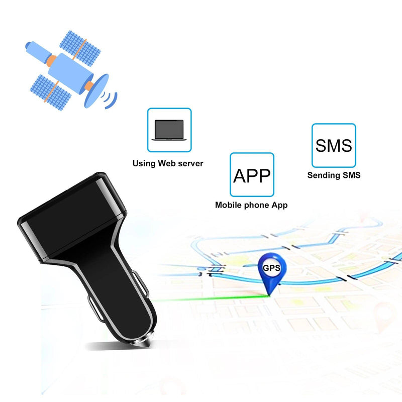 Dual USB Car Charge GPS Tracker GSM SIM Realtime GPRS Vehicle Tracking Security Automotive - DailySale