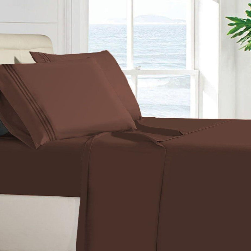 Egyptian Quality 100 GSM Microfiber Sheet Set Linen & Bedding Twin Brown - DailySale
