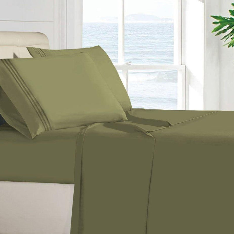 Egyptian Quality 100 GSM Microfiber Sheet Set Linen & Bedding Twin Green - DailySale