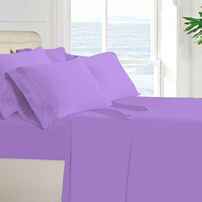 Egyptian Quality 100 GSM Microfiber Sheet Set Linen & Bedding Twin Lavender - DailySale